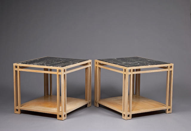A pair of contemporary painted wood and marble end tables