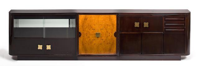 An impressive Julius Rindler mahogany, burled walnut bar cabinet