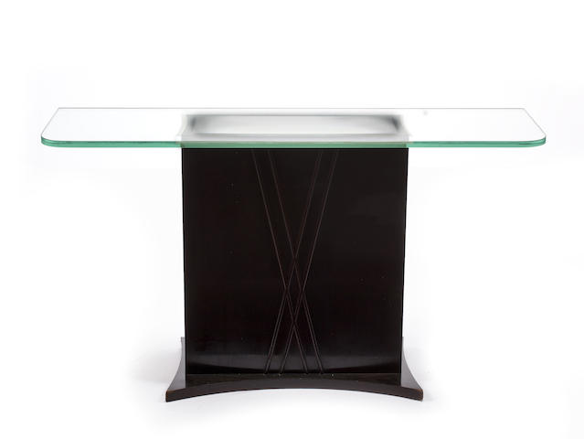 A Julius Rindler mahogany and etched glass illuminated console table
