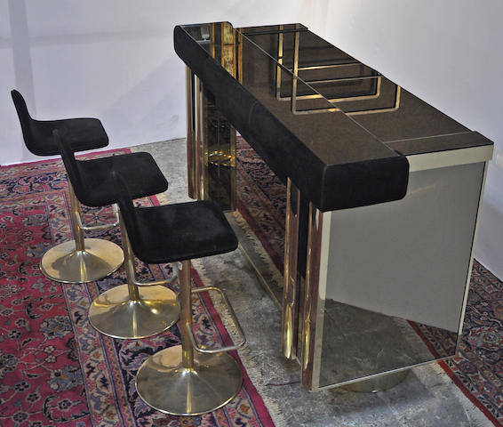 A Contemporary brass, suede and mirrored bar and three stools