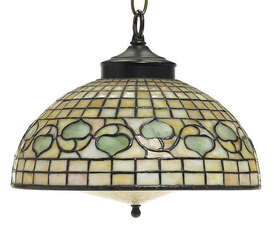A Tiffany Studios Favrile glass and bronze Acorn shade