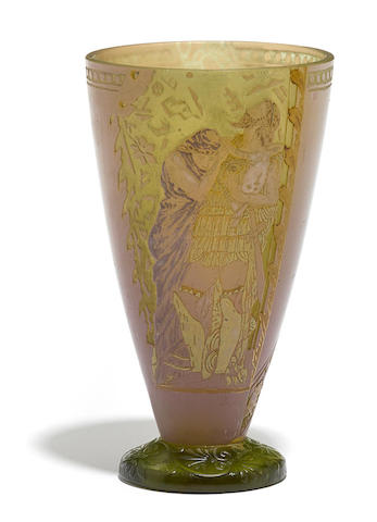 A Vallerysthal enameled cameo glass vase