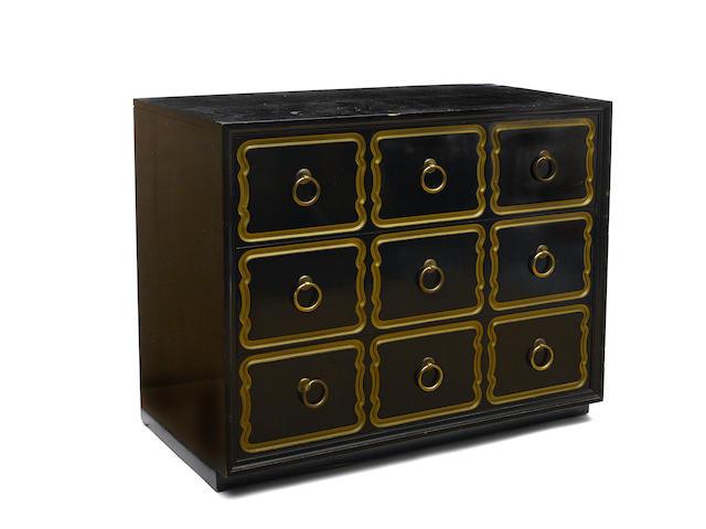 A Dorothy Draper for Heritage Henredon parcel gilt and ebonized wood Espana chest of drawers