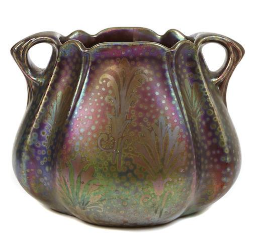 A Weller Sicard luster glazed earthenware two-handled vessel
