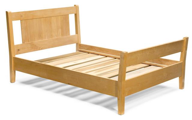 A custom Roy McMakin pine full bed