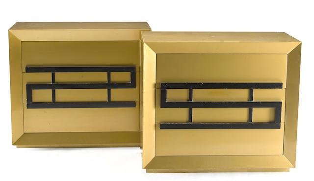 A pair of Maximilian Karp brushed gold mahogany chests of drawers
