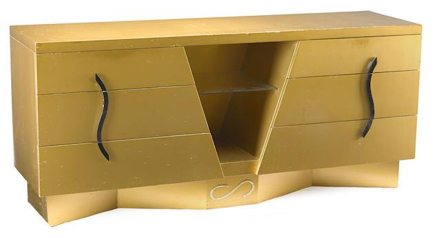 A Maximilian Karp brushed gold mahogany buffet