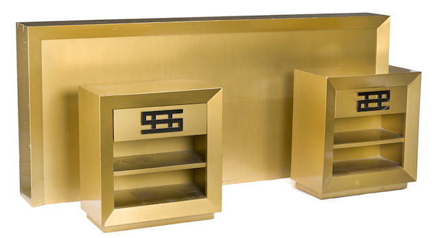 A Maximilian Karp brushed gold mahogany headboard and two night stands