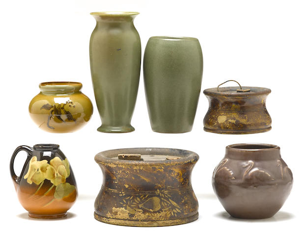 Five American pottery vessels including Rookwood and Redwood