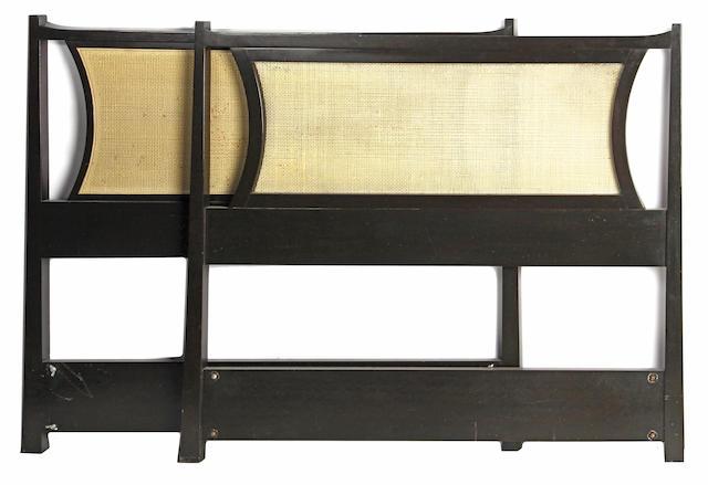 A pair of Edward Wormely for Dunbar ebonized wood and rattan twin headboards
