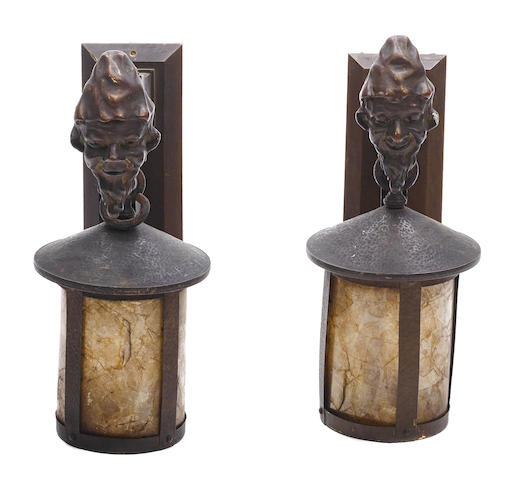 A pair of American Arts & Crafts metal, wood and mica wall lights