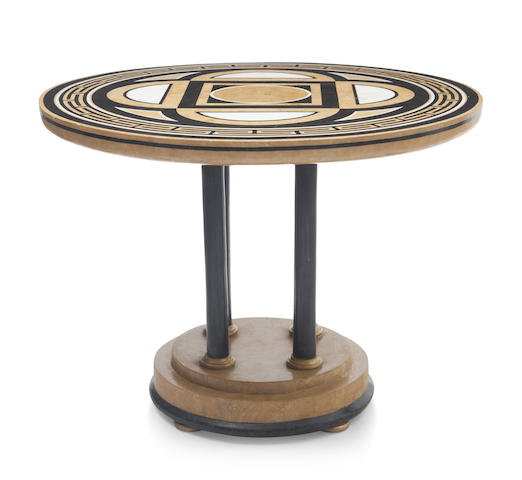 A Art Moderne style marble inlaid center table