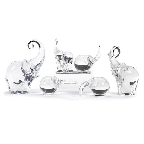 A group of three Steuben glass Trumpeting Elephants