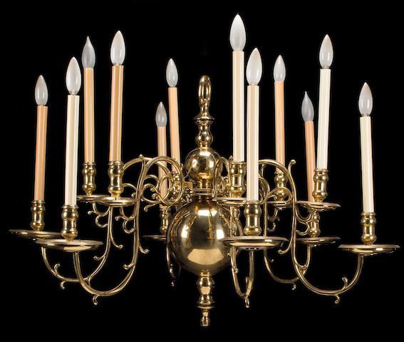 A Dutch Baroque brass twelve-light chandelier