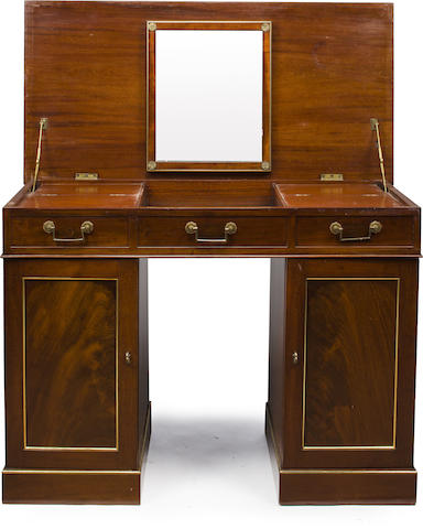 A Victorian brass-lined mahogany campaign dressing table/desk