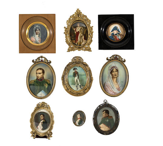 Nine portrait miniatures of Napoléon and Joséphine