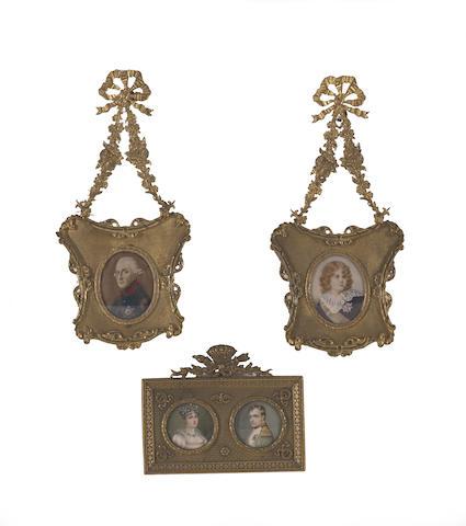 Four portrait miniatures of European royalty