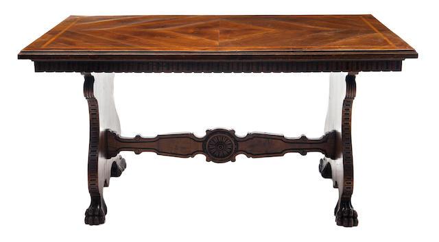 An Italian walnut inlaid trestle table