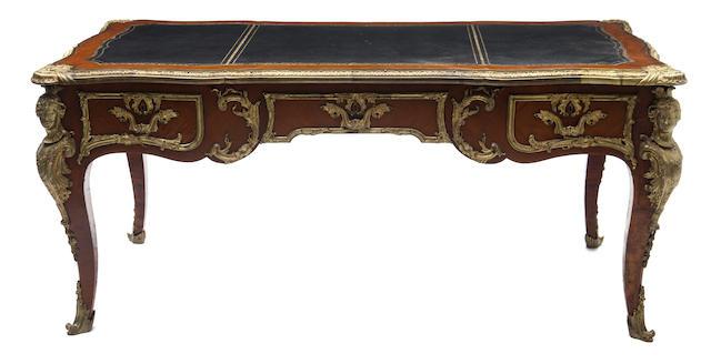 A French Regence style bronze mounted bureau plat