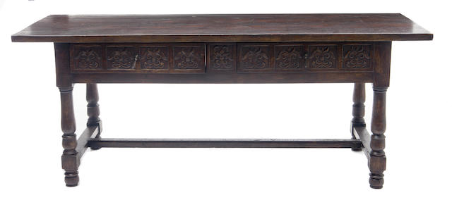 A large Italian Renaissance style two drawer table