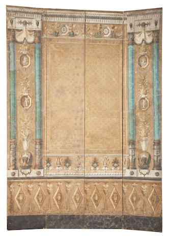 A Neoclassical paint decorated four panel screen