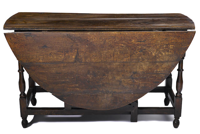 A William and Mary oak drop leaf table