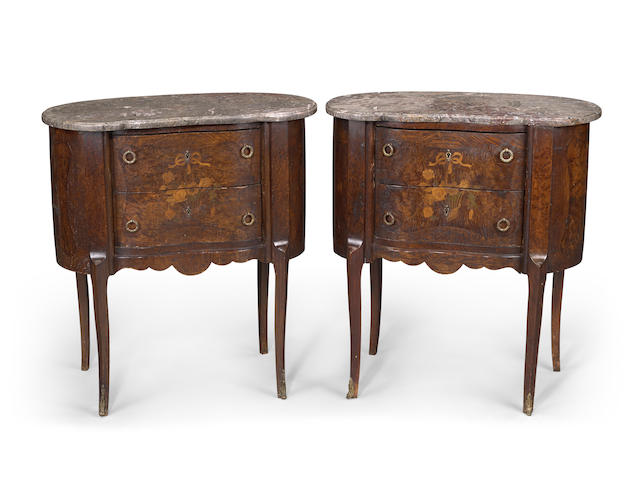 A pair of Louis XVI style marquetry inlaid marble topped tables