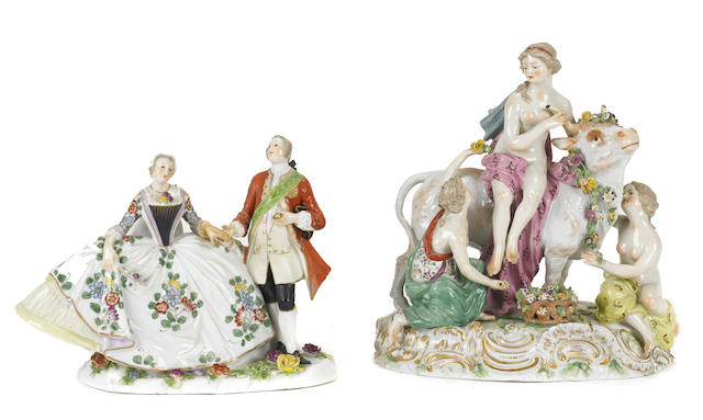 Two Continental porcelain figural groups after the Meissen models
