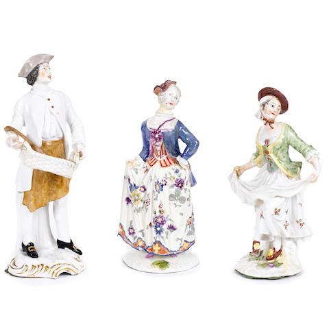 A group of three Continental porcelain figures