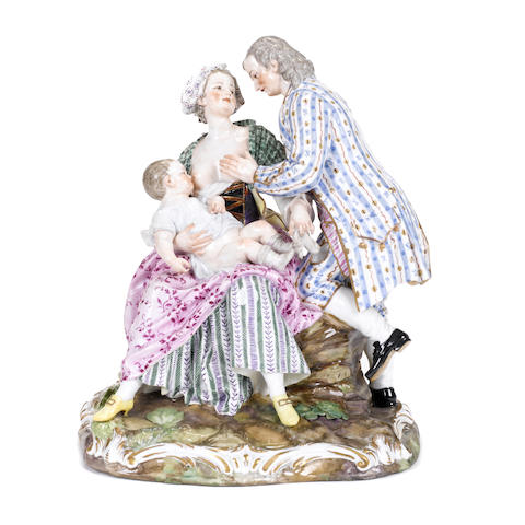 A German porcelain figural group of a family