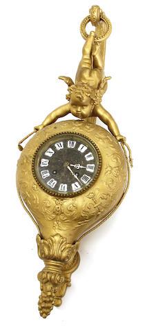 A Belle Époque gilt metal figural hanging wall clock