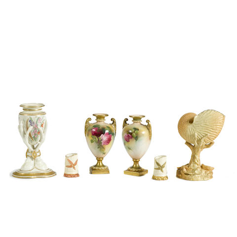 A group of Royal Worcester porcelain articles