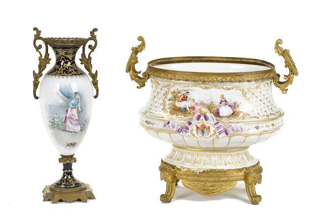 A Sevres style gilt bronze mounted center bowl together with a Sevres style gilt bronze mounted vase