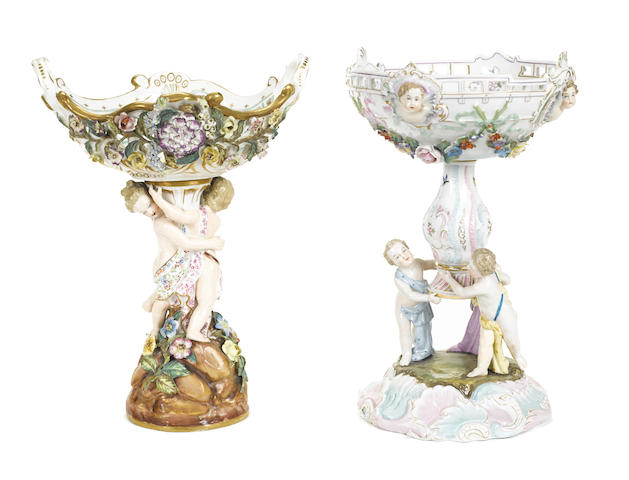 Two Continental porcelain compotes