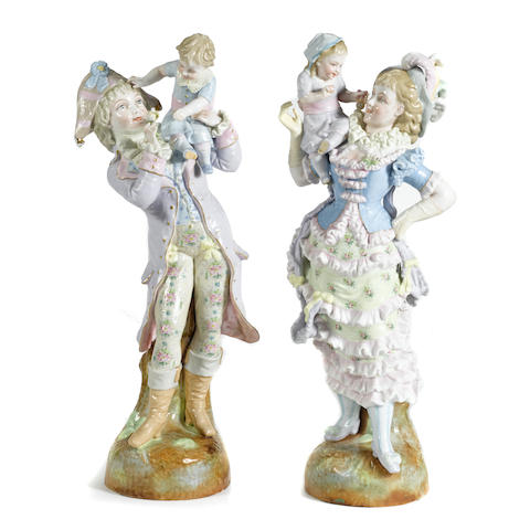 A pair of Continental porcelain figural groups