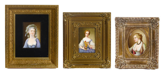 A group of three German porcelain plaques