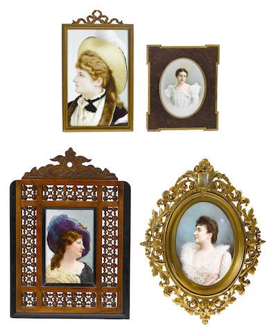 A group of four Continental portrait plaques