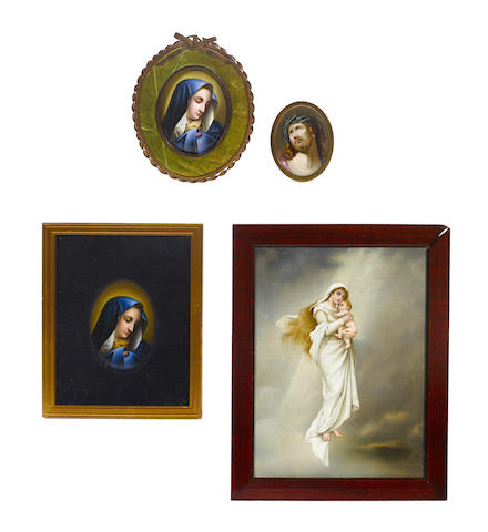 A Berlin (KPM) porcelain plaque together with three other plaques.
