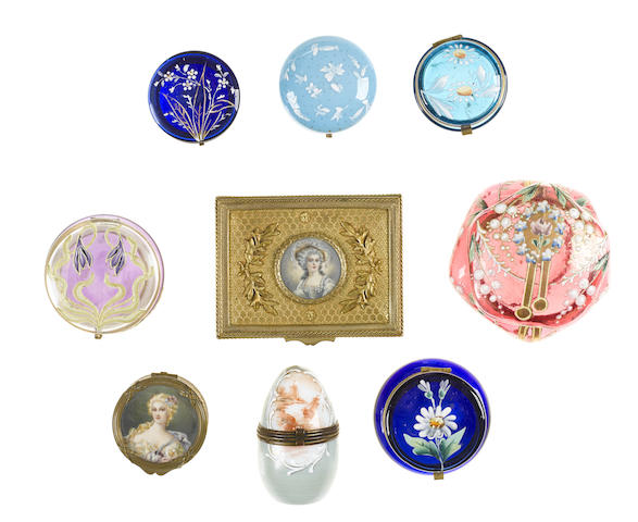 A group of glass and gilt metal table boxes