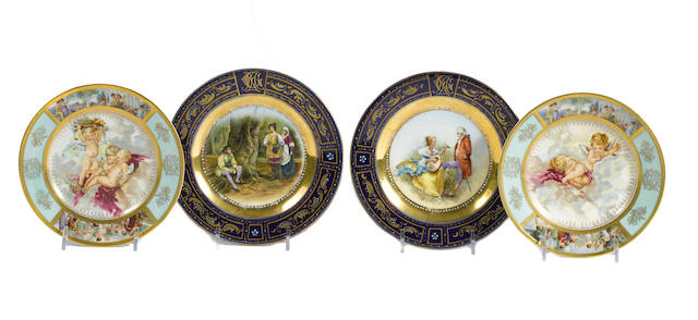 A collection of Vienna style porcelain cabinet plates of small size