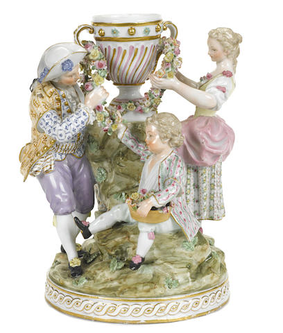 A Meissen style porcelain figural group