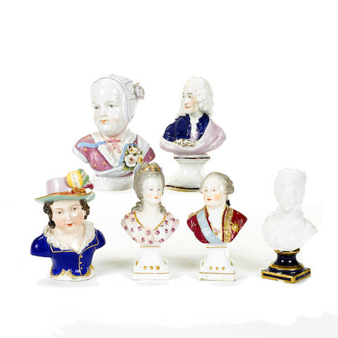 A group of six Continental porcelain busts