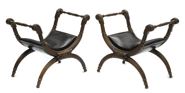 A pair of Regency style mixed wood stools