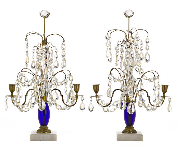 A pair of Swedish Neoclassical brass, marble and glass two light girandoles