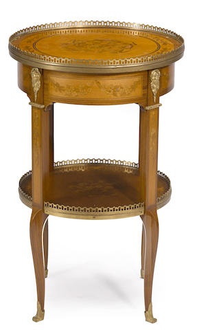 A Louis XV/XVI style gilt bronze mounted marquetry table ambulante