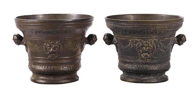 A Renaissance bronze mortar together with a later cast bronze mortar