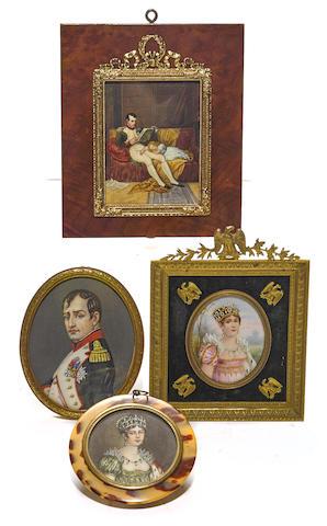 Four portrait miniatures of Napoléon and his family