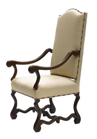 A Louis XIV walnut armchair