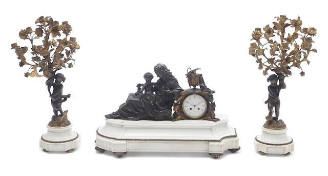 A Louis XV style three piece clock garniture