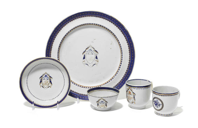A group of Chinese Export porcelain armorial tableware